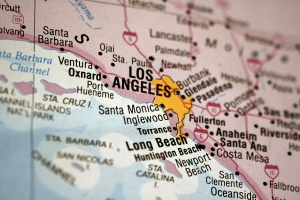 Image of a map of Southern California with Los Angeles Highlighted